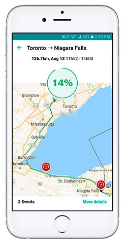 Intact mobile application: view your trips on a map